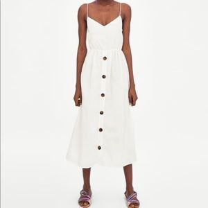 Zara || White Strappy Linen Button Midi Dress